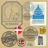 Штемпеля перемещения или комплект символов, тема Дании, Копенгагена Стоковая Фотография RF
