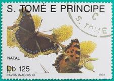 Штемпеля почтового сбора были напечатаны в Сан Томе и Принчипе Стоковое Изображение
