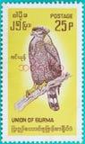 Штемпеля почтового сбора были напечатаны в соединении Бирмы Стоковая Фотография