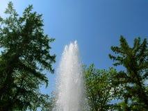 Штендер воды с выплеском от падения на фоне голубого неба и зеленых деревьев, нижнего взгляда Фонтан создает каскад стоковое изображение rf
