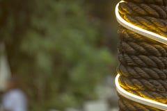 штендер в оболочке в старой серой пеньковой веревке и накаляя гирлянде на запачканной зеленой предпосылке дерева стоковая фотография