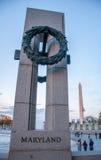 Штендер Мэриленда на мемориале Второй Мировой Войны стоковая фотография rf