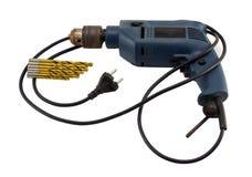 Штепсельная вилка розетки бита ржавого ретро электрического сверлильного аппарата золотистая Стоковые Изображения