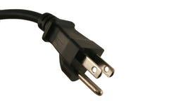 штепсельная вилка черного шнура электрическая изолированная Стоковые Изображения RF