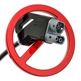 Штепсельная вилка электрического автомобиля поручая с запрещенным зн иллюстрация штока