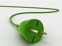 штепсельная вилка зеленого цвета энергии принципиальной схемы Стоковое Фото