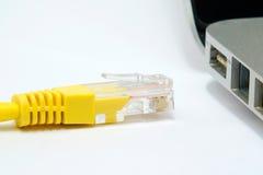 Штепсельная вилка интернета около гнезда Стоковые Фотографии RF