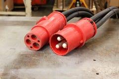 Штепсельная вилка и штепсельная розетка кабельных соединителей Стоковое Изображение RF