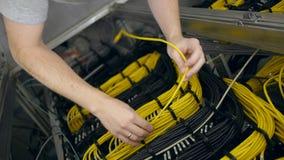 Штепсельная вилка рук вне желтый кабель ethernet акции видеоматериалы
