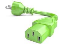 Штепсельная вилка экологической энергии и электрические кабели вихруны мира eco принципиальной схемы Стоковая Фотография