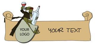 шток померанца иллюстрации предпосылки яркий Лягушка в смокинге, с стеклом и бутылкой Стоковые Фото