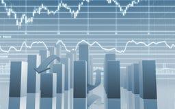 шток рынка диаграммы в виде вертикальных полос Стоковые Изображения