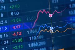 шток snd карандаша рынка диаграммы спусков монеток красный поднимает Стоковая Фотография RF