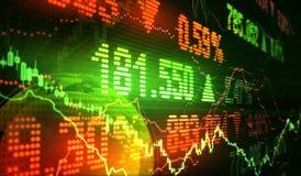 шток snd карандаша рынка диаграммы спусков монеток красный поднимает Стоковое Изображение