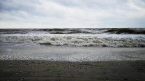 Шторм на пляже Большие серые волны и крутая погода