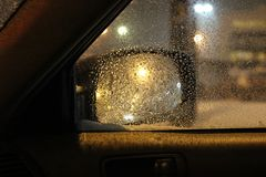 Шторм снега вне боковое окно стоковое изображение