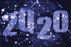 Шторм снега ночи с надписью 2020 иллюстрация штока