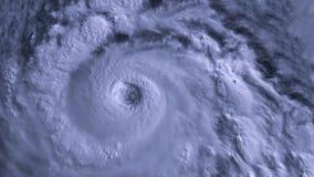 Шторм урагана с молнией над океаном , спутниковый взгляд акции видеоматериалы