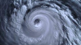 Шторм урагана с молнией над океаном , спутниковый взгляд видеоматериал