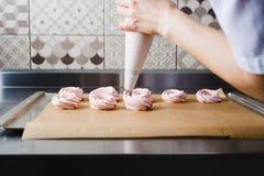 Штранг-прессование массы зефира от кулинарной сумки Стоковое фото RF