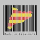 Штрихкод установил форму на план карты Каталонии и цвет флага Каталонии на черном штрихкоде с серой предпосылкой иллюстрация штока