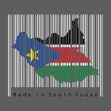 Штрихкод установил форму на южный суданский план карты и цвет южного флага Судана на сером штрихкоде с темной серой предпосылкой иллюстрация штока