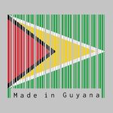 Штрихкод установил цвет флага Гайаны, зеленое поле с черным красным треугольником и белым золотым треугольником иллюстрация вектора