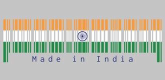 Штрихкод установил цвет флага Индии, tricolor шафрана Индии, белый и зеленый с колесом Ashoka Chakra Иллюстрация вектора