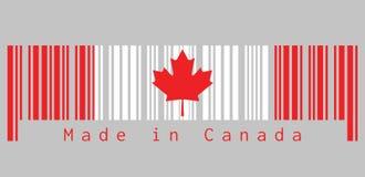 Штрихкод установил цвет флага Канады, вертикальное triband красной и белого с красным кленовым листом с текстом: Сделанный в Кана Бесплатная Иллюстрация