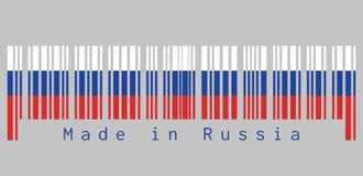 Штрихкод установил цвет флага России, 3 равных горизонтальных полей белые голубого и красный с текстом: Сделанный в России Иллюстрация штока