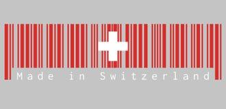 Штрихкод установил цвет флага Швейцарии, эмблемы революции с белым крестом с текстом: Сделанный в Швейцарии Иллюстрация вектора