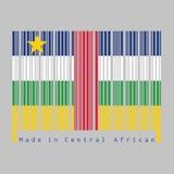 Штрихкод установил цвет центрально-африканского флага, голубого белого зеленого желтого цвета и красного цвета со звездой на серо бесплатная иллюстрация