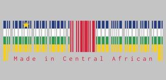 Штрихкод установил цвет центрально-африканского флага, голубой белый зеленый желтый и красный цвет с звездой на серой предпосылке иллюстрация штока