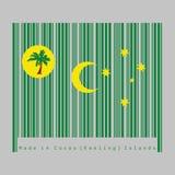 Штрихкод установил цвет Cocos острова Keeling сигнализируют, пальмы на кресте диска золота, серповидных и южных на зеленом цвете бесплатная иллюстрация