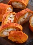 Штрудель или Stromboli праздника с мясом индюка Стоковое Изображение
