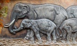 Штукатурка семьи слона Стоковые Изображения RF