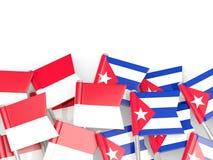 Штыри с флагами Индонезии и Кубы изолированных на белизне бесплатная иллюстрация