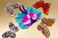 штыри masquerade маски бабочки Стоковая Фотография RF