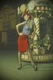 штырь девушки carousel вверх Стоковые Фотографии RF