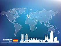 Штырь карты с горизонтом Барселоны Стоковая Фотография RF