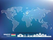 Штырь карты с горизонтом Будапешта Стоковое Изображение RF