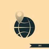 штырь на значке глобуса Стоковые Фото
