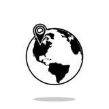 штырь на значке глобуса Стоковое Фото