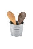 Шумовка деревянной кухни установленная, лопата сковороды в iso коробки металла Стоковые Фотографии RF