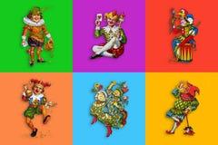 6 шутников карточки в красочных квадратах иллюстрация штока