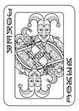Шутник играя карточки черно-белый иллюстрация вектора