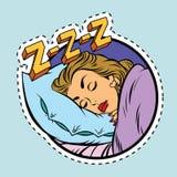 Шуточная девушка спать в кровати иллюстрация штока