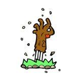 шуточная рука зомби шаржа поднимая от земли Стоковое Фото