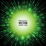 Шуточная скорость выравнивает радиальную предпосылку с светящими пятнами Иллюстрация зеленого градиента праздничная с взрывом сил Стоковая Фотография RF