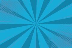 Шуточное искусства шипучки ретро Голубой супергерой предпосылки Точки полутонового изображения взрыва молнии Шарж против вектор бесплатная иллюстрация